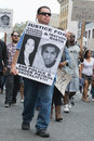 San diego july protesters carried placards in support trayvon and other victims of violence during comic con downtown Stock Photography