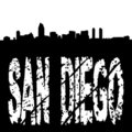 San Diego text with skyline Stock Image