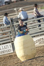 San Dimas Rodeo Clown in Barrel Stock Photo