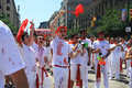 San fermin young people shouting in the street first day of holiday pamplona editorial use Royalty Free Stock Photo