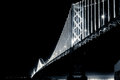 San francisco bay bridge at night in black and white when fully lit Royalty Free Stock Photography