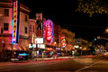 San francisco broadway street strip clubs at night a vivid red light district nighttime view of the condor topless a go go club Royalty Free Stock Photo