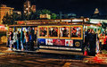San francisco cable car at night a late shot of passengers on the getting ready to leave the friedel klussmann memorial turnaround Stock Image