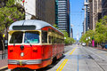 San francisco cable car tram in market street california downtown usa Stock Photography