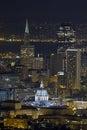 San francisco city hall cityscape bij nacht Royalty-vrije Stock Foto's