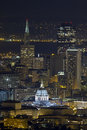 San francisco city hall cityscape at night with skyline skyscrapers background Royalty Free Stock Photos