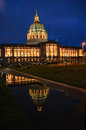 San francisco city hall at night with a reflection in a puddle of water from a rain storm Royalty Free Stock Photo