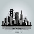 San Francisco city silhouette. Royalty Free Stock Photo