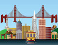 San Francisco City Skyline Illustration Royalty Free Stock Image