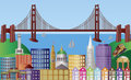 San Francisco City Skyline Panorama Illustration Royalty Free Stock Image