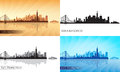 San francisco city skyline silhouettes set vector illustration Royalty Free Stock Photo