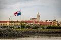 San Francisco de Asis Church in Casco Viejo and Panama Flag - Panama City, Panama Royalty Free Stock Photo