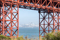 San Francisco Downtown in Hazy Summer Framed by the Golden Gate Bridge. Royalty Free Stock Photo