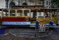 San Francisco: a driver turns a cable car Royalty Free Stock Photo