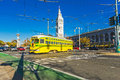 San francisco f line tram california usa december market e wharves rail on dec in the is operated as a heritage streetcar Royalty Free Stock Images