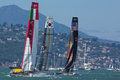 San francisco during the final of the america s cup ca august american team and corean team try to overtake italian team in bay Stock Image