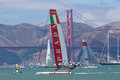 San francisco during the final of the america s cup ca august chinese team tries to overtake italian team in front golden gate Royalty Free Stock Photos