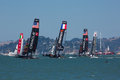 San francisco during the final of the america s cup ca august a few teams try to overtake italian team in bay Royalty Free Stock Image