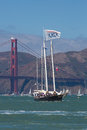 San francisco during the final of the america s cup ca august an unidentified vip boat in bay Stock Image