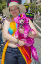San francisco gay pride june an unidentified participant with here dog at the annual parade on june Royalty Free Stock Photos