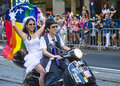 San francisco gay pride june an unidentified participants on a motorcycle at the annual parade on june Stock Images