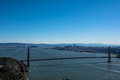 San francisco and the golden gate bridge from marin headlands a view of Royalty Free Stock Photo
