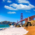 San Francisco Golden Gate Bridge Marshall beach California Royalty Free Stock Photo