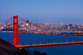 San francisco and golden gate bridge at night Royalty Free Stock Image