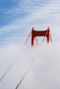 San Francisco Golden Gate Bridge tower in the fog Royalty Free Stock Photo