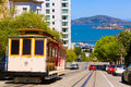San francisco hyde street cable car california tram of the powell in usa Stock Photography