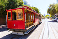 San francisco hyde street cable car california tram of the powell in usa Stock Images