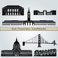 San francisco landmarks and monuments on blue background in editable vector file Stock Photos