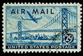 San Francisco-Oakland Bay Bridge Airmail Stamp Royalty Free Stock Photo
