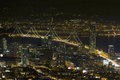 San francisco oakland bay bridge at night city skyline with scene Royalty Free Stock Photo