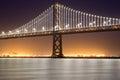 San Francisco-Oakland Bay Bridge, Night Royalty Free Stock Photo