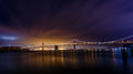 San Francisco-Oakland Bay Bridge at night Royalty Free Stock Photo