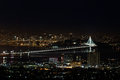 San Francisco Oakland Bay Bridge at Night (New Eastern Span) Royalty Free Stock Photo