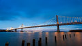 San Francisco-Oakland Bay Bridge at sunset Royalty Free Stock Photo