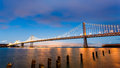 San Francisco-Oakland Bay Bridge at sunset Royalty Free Stock Photo