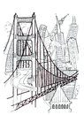 San Francisco outline drawing Stock Photo