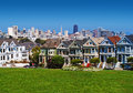 San francisco painted ladies colourful historical victorian houses near alamo square Stock Photos