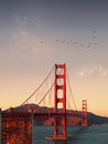 San francisco panoramic view of golden gate bridge Royalty Free Stock Photo