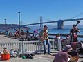 San Francisco, people on a pier Stock Photos