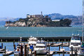 San francisco pier marina and alcatraz world famous prision with the located at the edge of famous fisherman's wharf the Royalty Free Stock Image