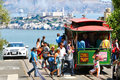 San Francisco Powell-Hyde Cable Car Passengers Royalty Free Stock Photo