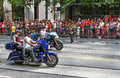 San francisco pride parade dykes on bikes and crowd part of the group of motorcycle bicycle riders that begin the each year the Royalty Free Stock Image