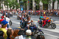 San francisco pride parade dykes on bikes part of the group of motorcycle and bicycle riders that begin the each year the world Royalty Free Stock Photography