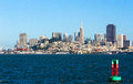 San Francisco Skyline from Bay Bouy Royalty Free Stock Photo