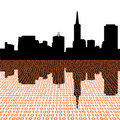 San Francisco skyline with binary Stock Image