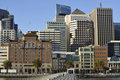 San Francisco skyline buildings; with peer and bay Royalty Free Stock Photo